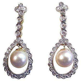 Art Deco Estate 1920's Cultured Pearl  Diamond Wedding Birthstone Dangle Earrings 18K
