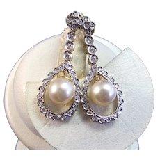 Estate Art Deco Cultured Pearl Diamond Wedding Day Dangle Earrings 18K