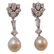 Large 1950's Diamond Cultured Pearl Dangle Wedding Day Birthstone Earrings 14K