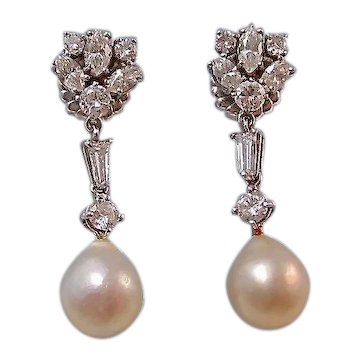 Large 1950's Diamond Cultured Pearl Dangle Wedding Day Earrings 14K White Gold