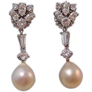 Large 1950's Diamond Cultured Pearl Dangle Wedding Day Birthstone Earrings 14K