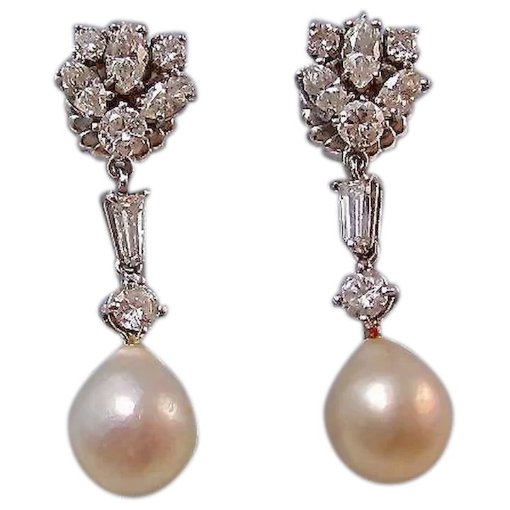Large 1950 S Diamond Cultured Pearl Dangle Wedding Day Birthstone Earrings 14k