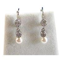 Akoya Cultured Pearl Diamond Dangle Wedding Day Earrings 14K