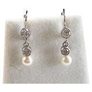 Akoya Cultured Pearl Diamond Dangle Wedding Day Earrings 14K