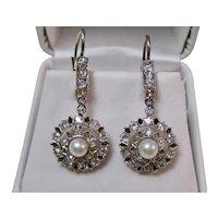 Antique Edwardian Diamond Cultured Pearl Dangle Earrings 18K Platinum