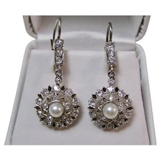 Antique Edwardian Diamond Cultured Pearl Dangle Wedding Day Birthstone Anniversary Earrings 18K Platinum