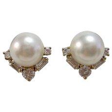 Estate Akoya Cultured Pearl & Diamond Wedding Day, Birthstone, Anniversary Earrings 14K