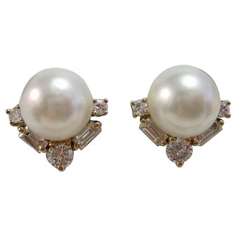 Estate Akoya Cultured Pearl & Diamond Wedding Day, Birthstone, Anniversary Earrings 14K