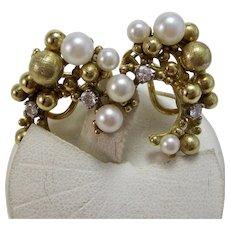 Cultured Pearl & Diamond Wedding Day Earrings 18K