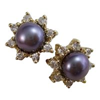 Estate Tahitian Pearl Diamond Jacket Earrings 14K