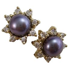 Estate Tahitian Pearl Diamond Jacket Earrings 14K