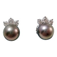 Vintage Estate Wedding Day Tahitian Cultured Pearl & Diamond Earrings 14K