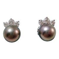 Vintage Estate Wedding Day Tahitian Cultured Pearl & Diamond Earrings 14K