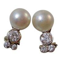 Vintage Estate Art Deco Wedding Day Cultured Pearl & Diamond Earrings 14K
