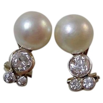 Vintage Estate Art Deco Wedding Day Anniversary Cultured Pearl & Diamond Earrings 14K