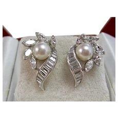 Vintage Estate Diamond & Cultured Pearl Wedding Day Earrings Platinum