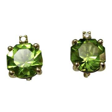 Vintage Estate Natural Peridot Diamond Earrings 14K