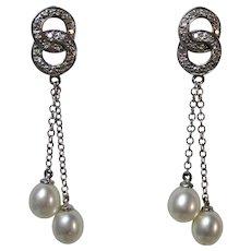 Vintage Estate Freshwater Cultured Pearl Diamond Earrings 14K