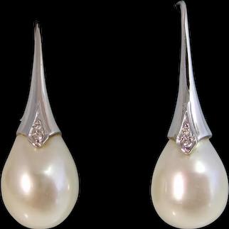 Vintage Estate Freshwater Pearl & Diamond Earrings 18K