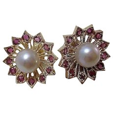 Vintage Estate Natural Ruby & Cultured Pearl Earrings 14K