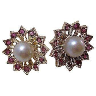 Vintage Estate Natural Ruby & Cultured Pearl Earrings 14K