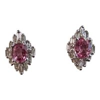 Vintage Estate Pink Sapphire Diamond Earrings 14K