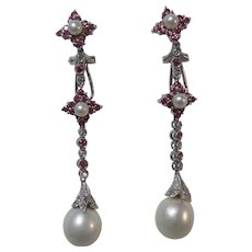 Vintage Estate Wedding Day Long Pink Sapphire Cultured Pearl Dangle Earrings 14K