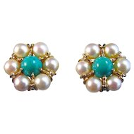 Akoya Cultured Vintage Pearl Natural Turquoise Earrings 14K