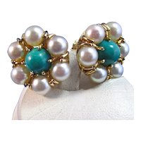 Vintage Estate 1950's Natural Turquoise & Akoya Cultured Pearl Earrings 14K