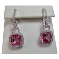 Pink Topaz & Diamond Estate Dangle Wedding Day Birthstone Earrings 18K