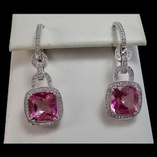 Pink Topaz & Diamond Dangle Wedding Day Birthstone Earrings 18K