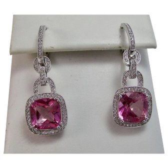 Pink Topaz & Diamond Estate Dangle Wedding Day Birthstone Earrings 18K