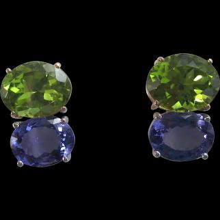 Vintage Estate Peridot & Tanzanite Earrings 14K