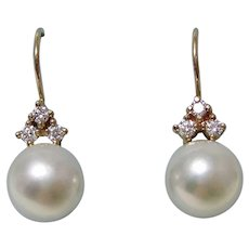 Akoya Cultured Pearl & Diamond Wedding/Anniversary Earrings 14K