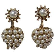 Antique Art Deco Heart Cultured Pearl Dangle Earrings 14K