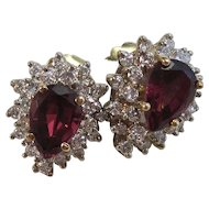 Natural Rhodolite Garnet Cluster Estate Diamond Wedding Birthstone Earrings 14K