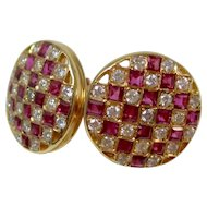 Estate Natural Ruby & Diamond Cluster Wedding Day Birthstone Anniversary Earrings 14K