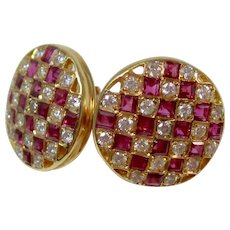 Estate Natural Ruby & Diamond Cluster Wedding Day Birthstone Anniversary Earrings 14K