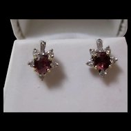 Natural  Ruby & Diamond Wedding Day Birthstone Estate Earrings 14K Gold