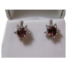 Natural  Ruby & Diamond Wedding Day Birthstone Estate Earrings 14K Gold