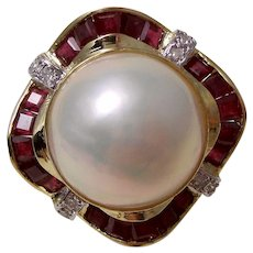Large Mabe Cultured Pearl,Diamond, & Natural Ruby Wedding Birthstone Estate Earrings 14K