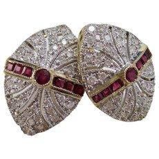 Estate Natural Ruby & Diamond Wedding Day Birthstone Earrings 18K