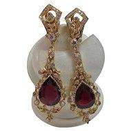 Huge Natural Ruby & Diamond Estate Wedding Birthstone Dangle Earrings 18K