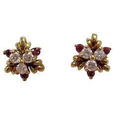 Vintage Estate Natural Ruby & Diamond Wedding Day Birthstone Anniversary Earrings 18K