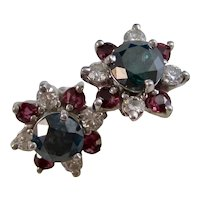 Patriotic Vintage Estate Diamond Ruby Wedding Birthstone Jacket Earrings 14K
