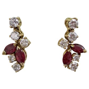 Estate Ruby & Diamond Wedding Anniversary Birthstone Dangle Earrings 18K