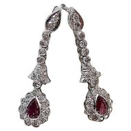 Art Deco Natural Pink Sapphire & Diamond Wedding Day Birthstone Anniversary Earrings 18K