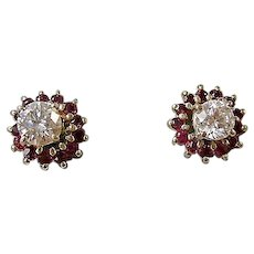 Vintage Estate Diamond Stud & Ruby Wedding Day Birthstone Anniversary Earrings 14K