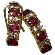 Estate Natural Ruby & Diamond Birthstone Wedding Anniversary Earrings 18K