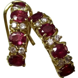 Estate Natural Ruby & Diamond Birthstone Wedding Anniversary Earrings 18K
